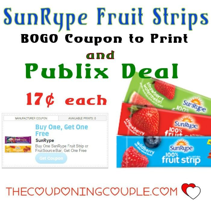 SunRype Fruit Strips $0.17 each @ Publix ~ Bogo Coupon ~ Run PRINT NOW while it is still there. These make great snacks and lunch box items!  Click the link below to get all of the details ► http://www.thecouponingcouple.com/sunrype-fruit-strips-0-17-each-publix-bogo-coupon/ #Coupons #Couponing #CouponCommunity  Visit us at http://www.thecouponingcouple.com for more great posts!