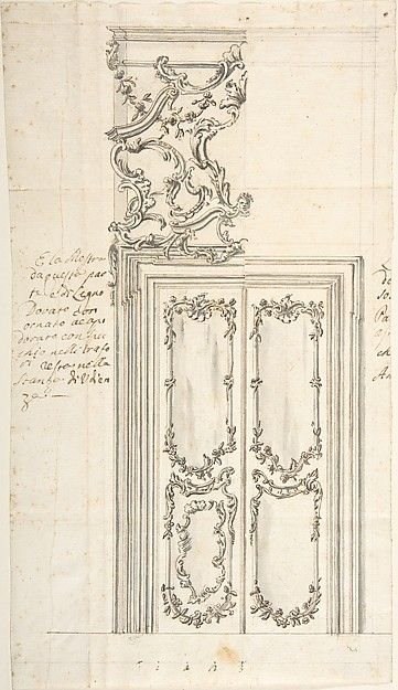 Design for a Door and Stucco Overdoor Decorations Anonymous Italian 18th century