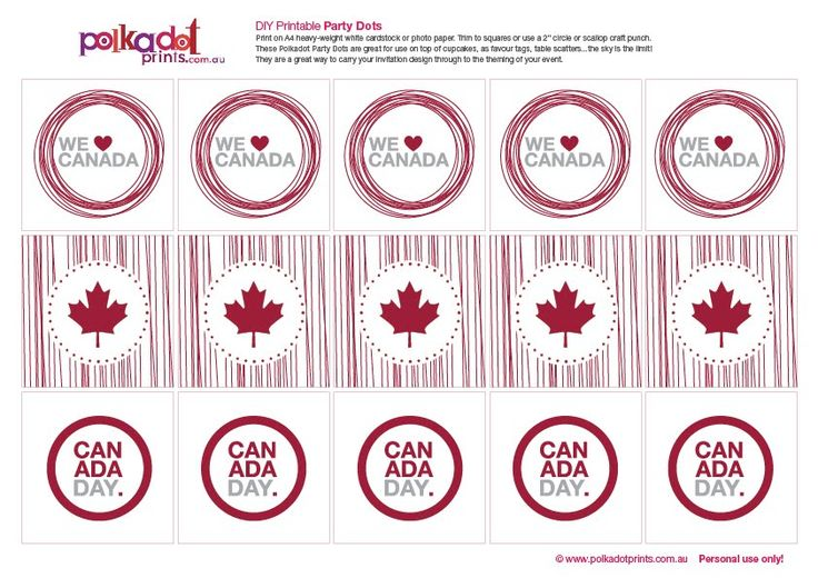 Canada Day Roundup including free printables like these you can use on Canada Day Cupcakes