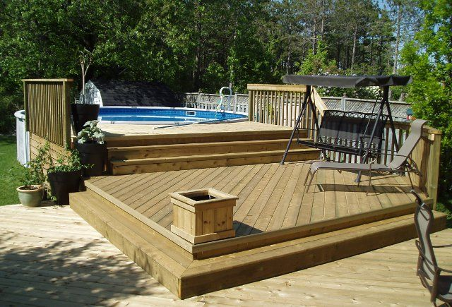 Above ground pool decks 27 ft round pool deck plan free for Wood pool deck design