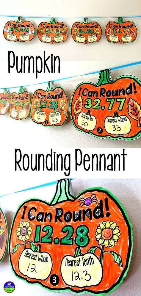 Pumpkin Rounding Pennant to celebrate Fall! Students round to the nearest ten, whole and tenth in this fun activity to celebrate fall and Halloween. Students need an understanding of place value to the hundredth in this version. Another version asks students to round whole numbers.
