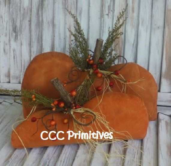Primitive Fall Painted Pumpkin Set  Primitive par CCCPrimitives, $26.00