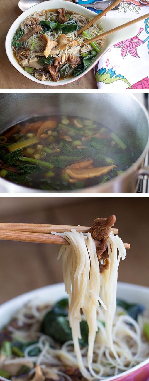 Chinese Mushroom Noodle Soup Recipe. Made with dried morel, porcini or Chinese mushrooms, chicken or vegetable stock, green onions, oyster sauce, light soy sauce, dark soy sauce, dried Chinese noodles, bok choy and choy sum.
