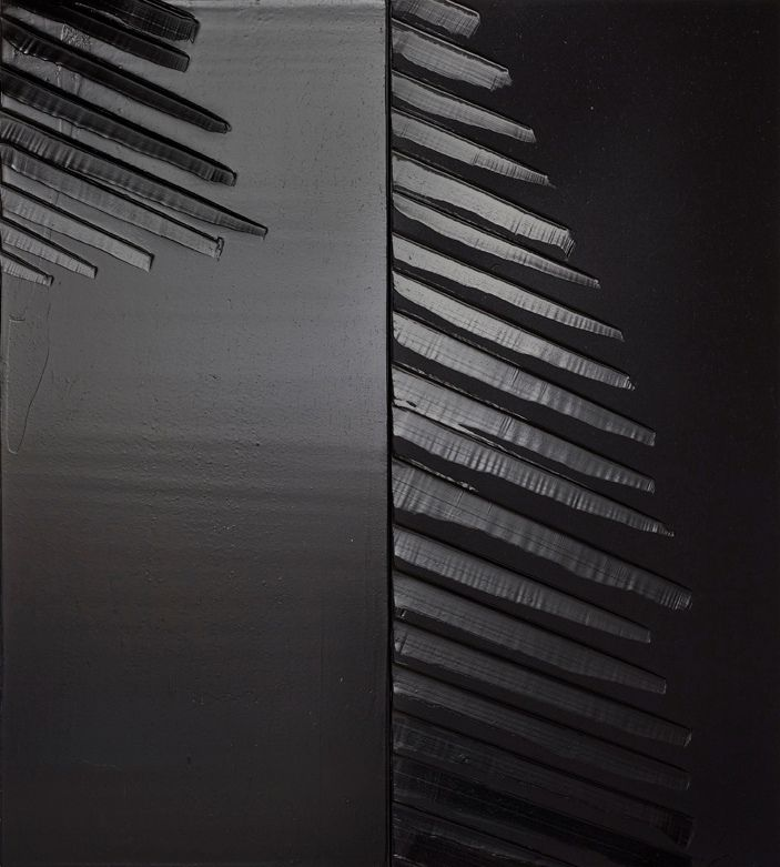 Black on black painting by the French artist Pierre Soulages. Magnificent.