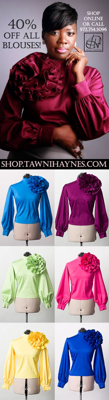 40% Off all Tawni Haynes Custom Blouses! We started 2013 Cyber Monday deals a day early! Shop online @ http://shop.tawnihaynes.com/SearchResults.asp?Cat=1822 or call 972-754-5096