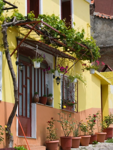 Yellow House, Agiasos, Lesvos, Mytilini, Aegean Islands, Greece