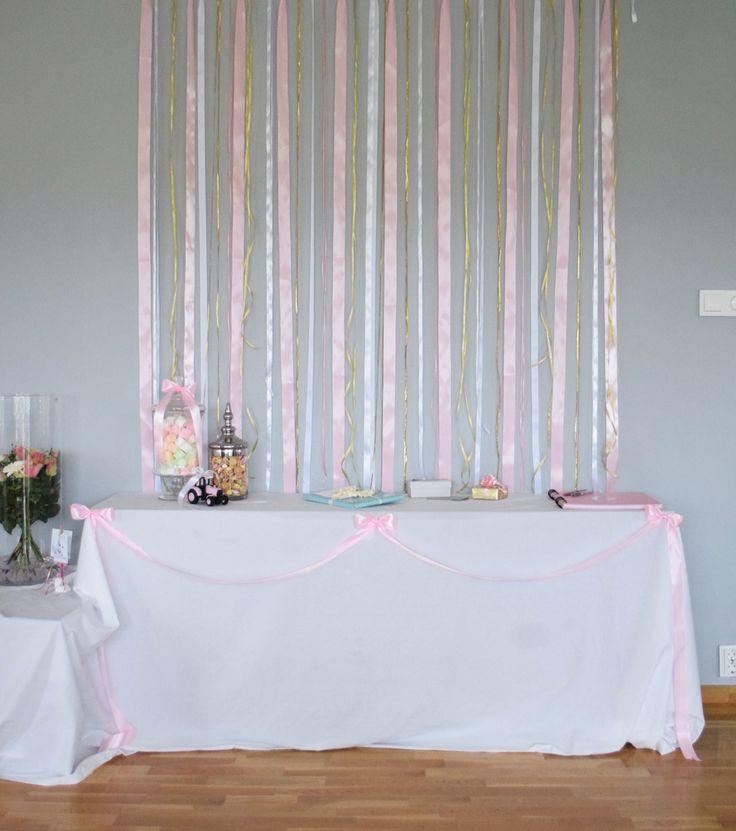 Pink baptism dåp cute diy  gold gifttable backdrop