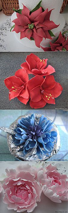 Лепка. Шикарные цветы из сахарной мастики для украшения тортов. Фото мастер- классы- часть 2.