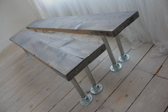 Pair of Reclaimed Grey-washed Scaffolding Board and Galvanised Steel Pipe Benches - Bespoke Urban Industrial Furniture