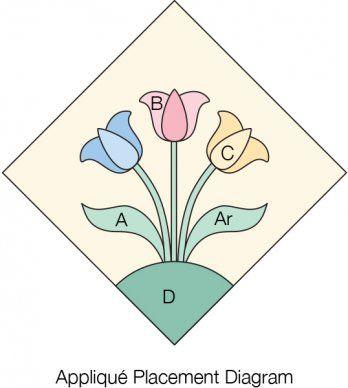 """Assemble a 9"""" tulip garden block."""