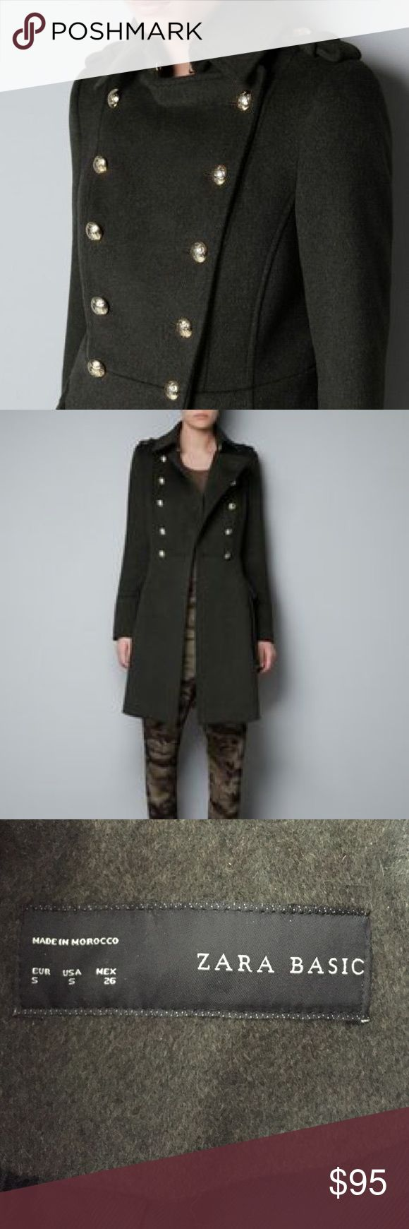 "HP Zara Wool Blend Military Pea Coat Like new, gorgeous chic and classic army green military style pea coat with gold buttons.  Length is 36"".  50% wool.  Features detail on shoulders, large side pockets and buttons on sleeves.  In excellent condition. Zara Jackets & Coats Pea Coats"