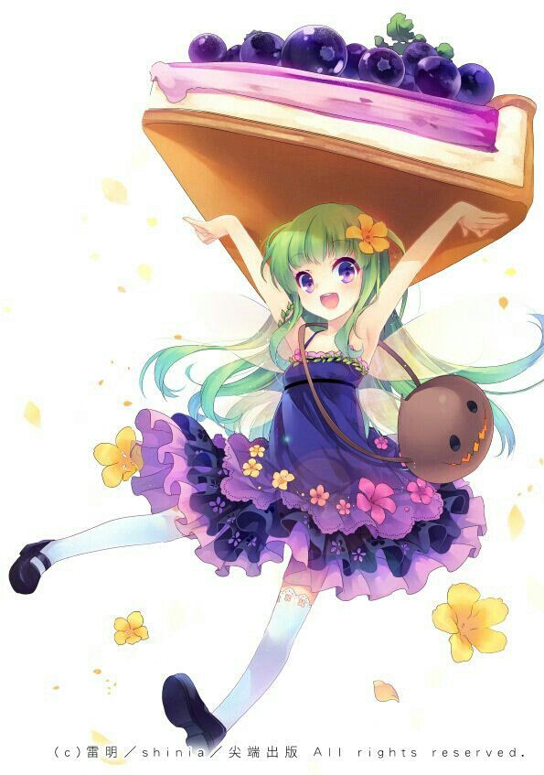 ✮ ANIME ART ✮ food. . .blueberry pie. . .miniature girl. . .personification. . .green hair. . .dress. . .ruffles. . .flowers. . .knee socks. . .smile. . .berries. . .cute. . .moe. . .kawaii- CLS