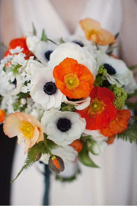 Beautiful bouquet .... love the colors, flowers, use of fern and lacy/white/umbell flowers too    {REVEL: Orange Bouquet...}