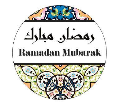 Ramadan Stickers with the word Ramadan Mubarak in
