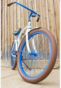 Shelby - men's white custom beach cruiser bicycle - front view
