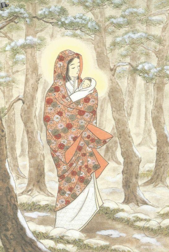 Японская Мадонна. Дева Мария страны восходящего солнца. Фото.