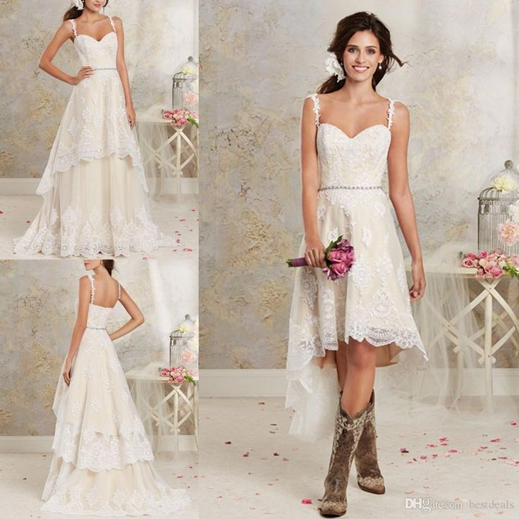 Two Pieces Wedding Dresses 2016 New Sexy Spaghetti Lace A Line Bridal Gowns With Hi Lo Short Detachable Skirt Country Bohemian Wedding Gowns Vintage Inspired Wedding Dresses Wedding Dress Shops From Bestdeals, $149.32| Dhgate.Com