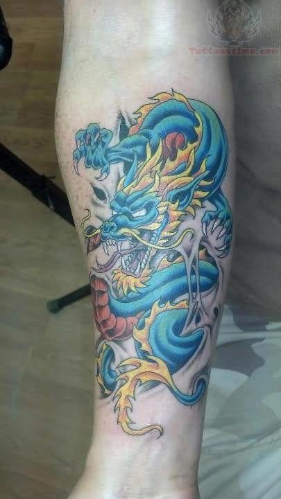 blue dragon tattoos arm
