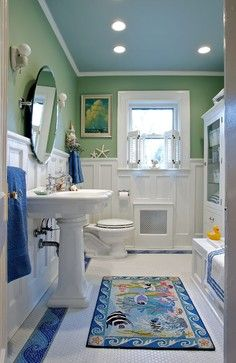 GROW Kid's Bath craftsman bathroom farrow and ball Folly Green and Breakfast Room green and white. The ceiling is Benjamin Moore 1668 Blue Stream.