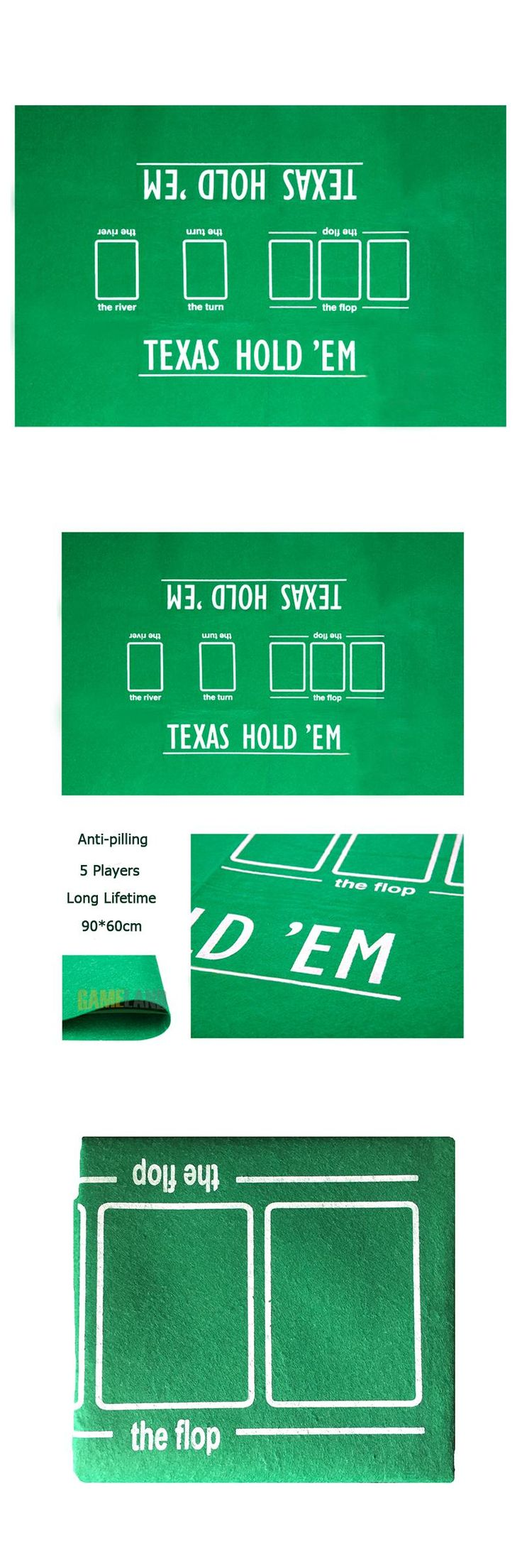 [Visit to Buy] 60*90cm 5 Players Anti-pilling Texas Hold'em Poker Table Cloth Poker Layout Set Poker Felt Layouts #Advertisement