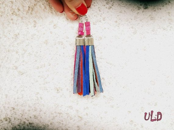 Unique Colorful Summer Tassel Leather Earrings, Leather Anniversary Gift For Her by uniqueleatherdesign. Explore more products on http://uniqueleatherdesign.etsy.com