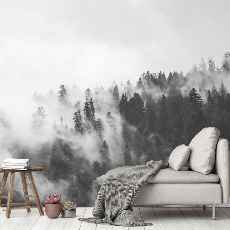 Tapete, Fototapete, Wald, Nebel, Natur, Nordisch, minimalistisch, Tapete, Skandi, Print, Wanddeko, Glattvlies – Unik Nordic
