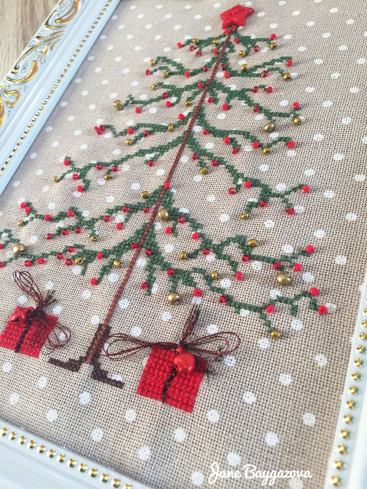 Another example Christmas tree cross stitch with beads