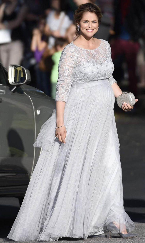 Heavily pregnant Princess Madeleine of Sweden arrives by car for the pre-wedding dinner in Bergrummet on Skeppsholmen, Stockholm on June 12; wedding of Prince Carl Philip of Sweden and ms. Sofia Hellqvist, June 13, 2015