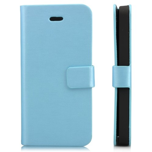 Wallet Shaped Magnetic Satin Material Leather Case  for iPhone 5-Light Blue