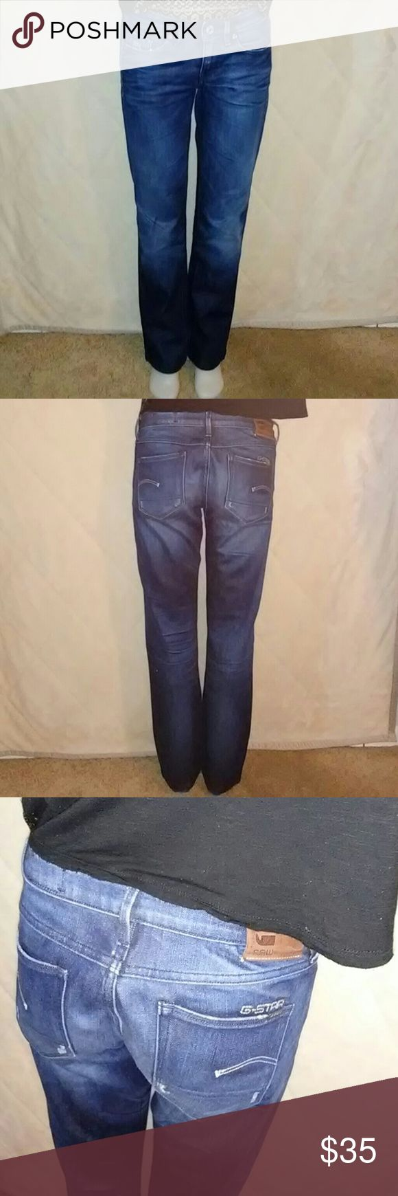 Women's G Star Jeans 3301 Raw They are in great pre-owned condition with light distressing on the pockets and the back of the cuffs. The jeans are size 27x32 - 3301 straight comfort ranch denim miner wash. G-Star Jeans Straight Leg