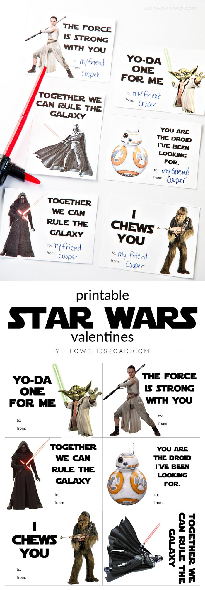 Printable Star Wars Valentines with New and Classic Characters