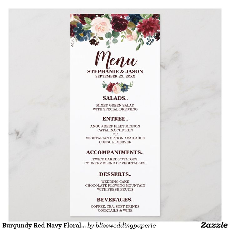 Burgundy Red Navy Floral Rustic Boho Wedding Menu Watercolor Burgundy Red Navy F…