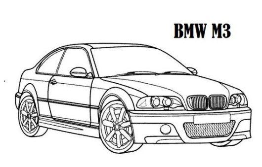 High Performance BMW Car M3 Models Coloring Sheet
