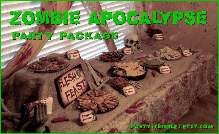 For program ideas!   Zombie Apocalypse Party Package Printable DIY with Banner and Favors for the Walking Dead. $25.00, via Etsy.