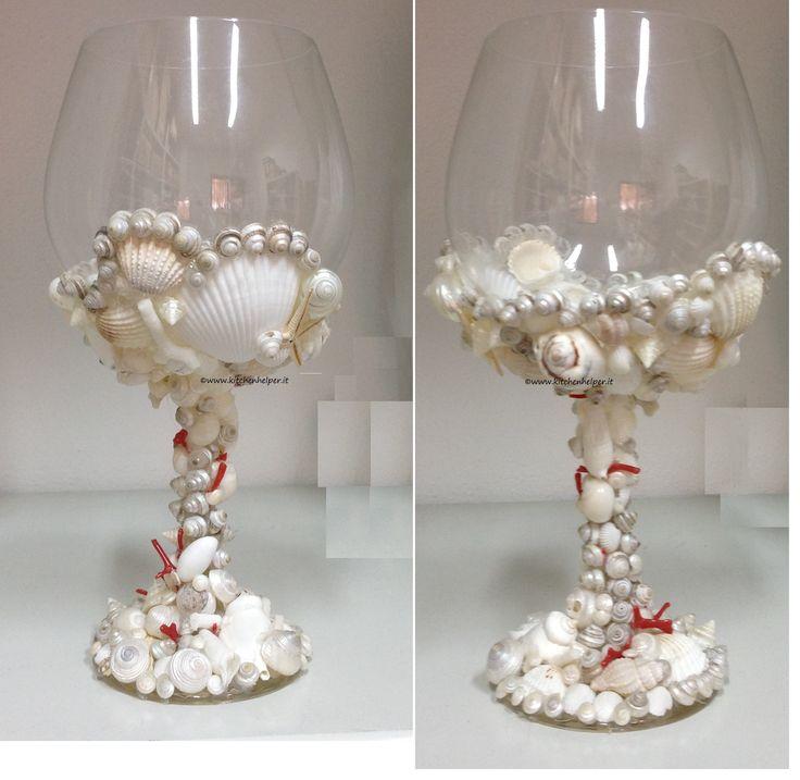 #Bicchiere #centrotavola con #conchiglie e #corallo, ideale per #party, #pranzi e #cene.