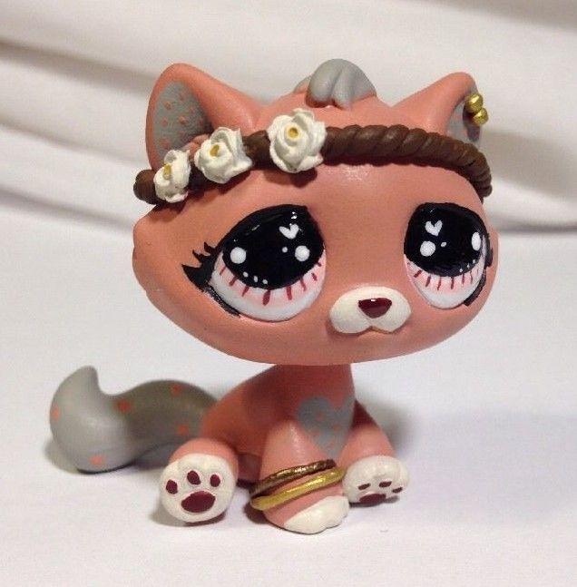 Littlest pet shop Cat  * Pretty Pink Kitty * Custom Hand Painted LPS OOAK #Hasbro