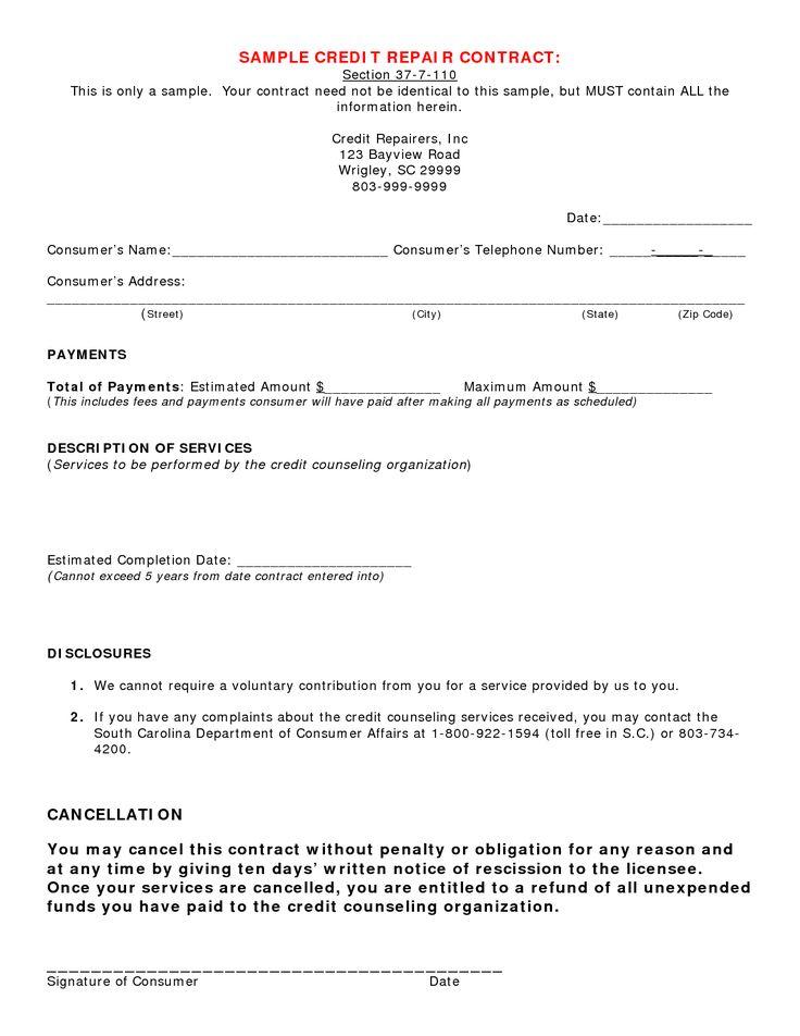 Credit Repair Contract Sample Credit Repair Secrets Exposed Here