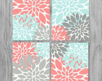 Laundry Room Beautiful 4 Piece Artwork Flowers SET Gallery Wrapped Canvas  OR Prints, You Choose   Set Of Coral, 2 Shades Of Gray, Light Turquoise,  White