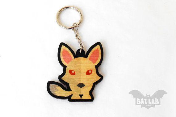 Animal Keychain from wood White fox handmade keychain by BatLab