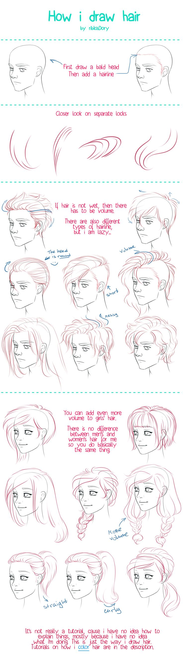 How to Draw Hair tutorial by =ribkaDory on deviantART: by drawing the ends and hairs at hairline close together you can create shading and a sense of form.