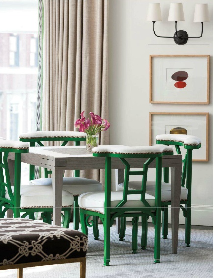 Love the kelly green chairs...perhaps repaint my desk chair green ...