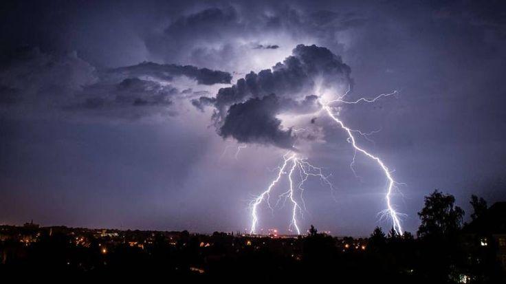 Gewitter über Görlitz in Sachsen