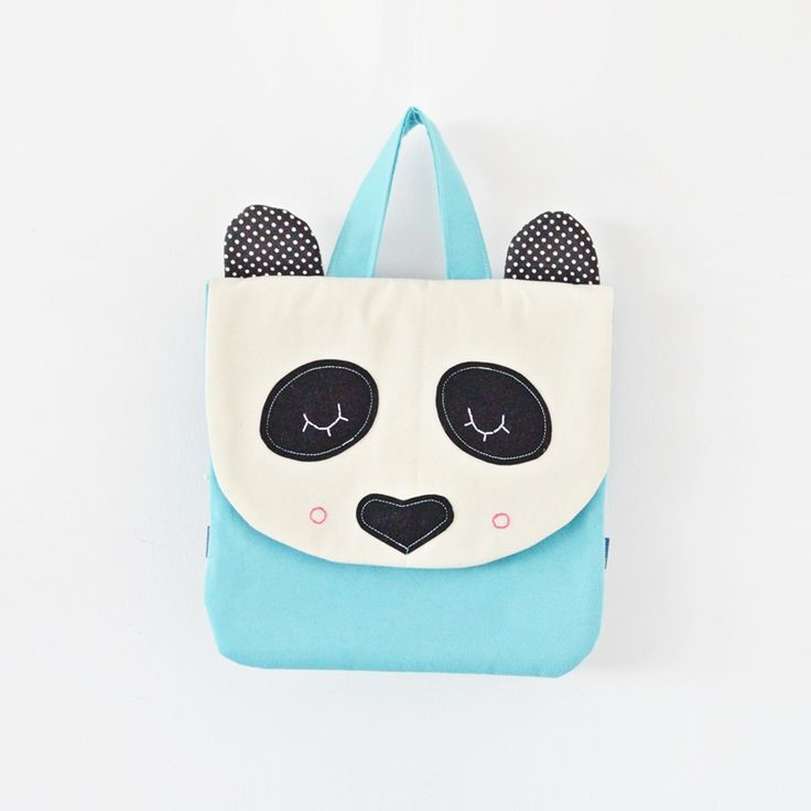 Sklep internetowy Lady Stump | Plecak Mała Panda #backpack #plecak #panda #blue #handmade #kids #school #gift #kidsdesign #ladystump #poland
