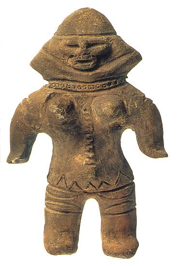 Japanese Jomon ceramic female figurine. B.C.4,500 - 3,300 This figurine was unearthed on Ibaragi Japan.