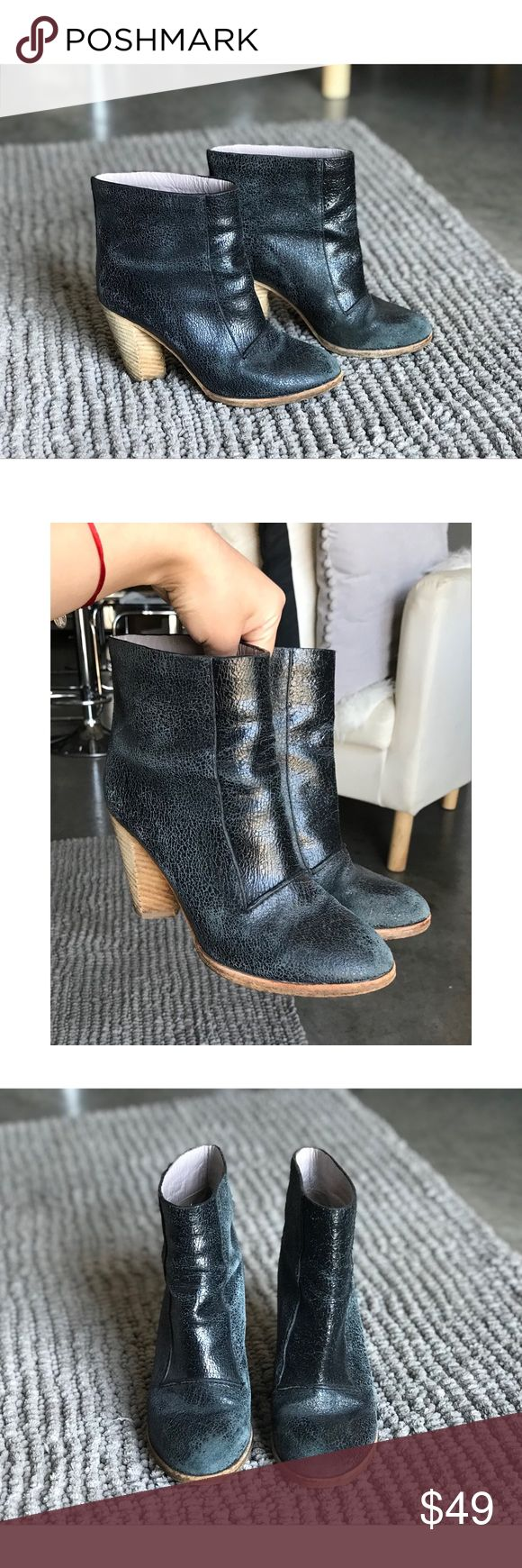 Marc by Marc Jacobs Booties Cute blue leather booties with wooden heel. Super comfy. Used with plenty of life left. Marc By Marc Jacobs Shoes Ankle Boots & Booties