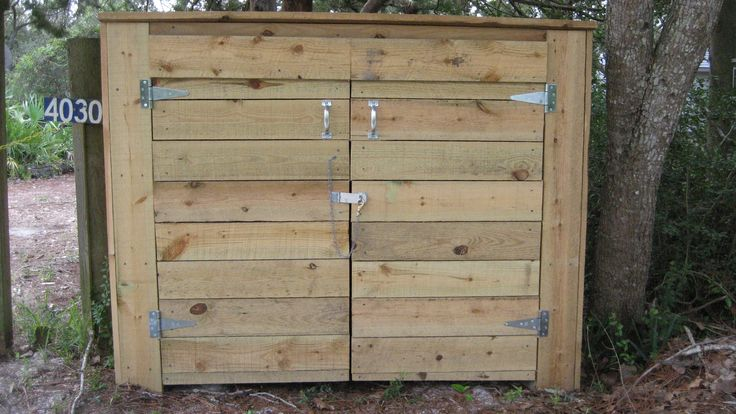 How to build a bear resistant shed for your garbage cans:  If a bear is getting into your trash can, one option is to build a bear-resistant shed to store your garbage cans.  The shed is designed to withstand frequent and repeated bear visits.  Using pressure-treated lumber, screws rather than nails, and having no gaps for bears to get a tooth or claw into, this shed will be a long lasting and low maintenance place to safely store your garbage. Click on photo for instructions!