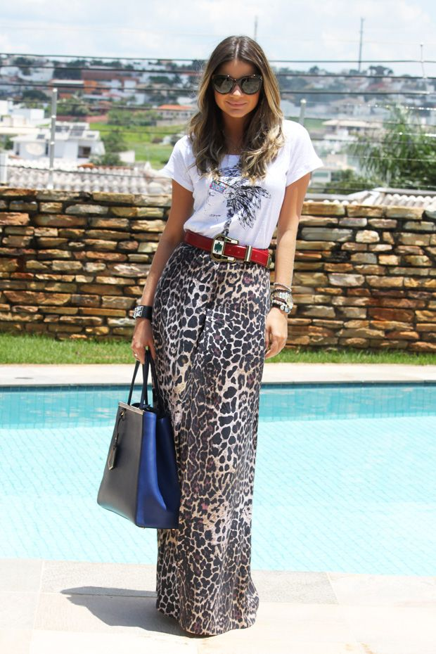 Leopard maxi skirt styled with a graphic tee