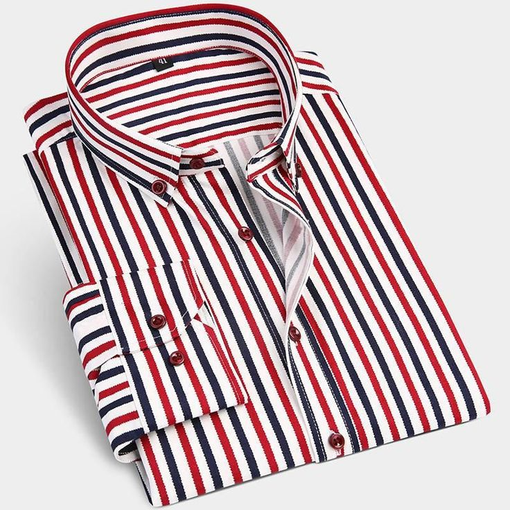 New Cotton Long Sleeve Men Casual Shirts Neck Button-Up Soft Fashion Striped Slim Fit Men Business Dress Shirt
