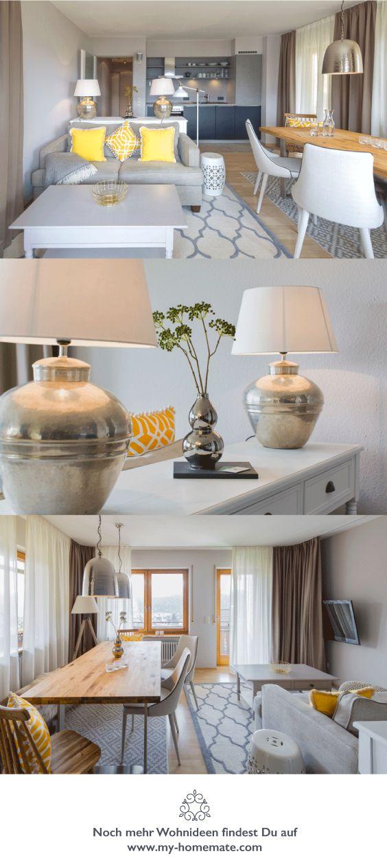 modernes elegantes landhaus wohnzimmer in taupe weiss und gelb