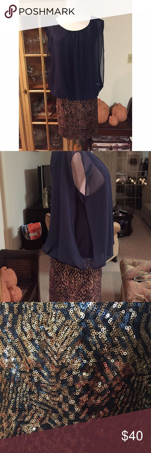 BouBou Navy and Rose Gold Sparkle Dress Large Beautiful Night out dress from BouBou! Navy on the top and rose gold and navy sparkles on the bottom. One piece all together. Worn only a handful of times and in great condition! BouBou  Dresses Mini